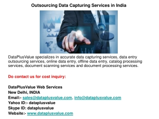 Outsourcing Data Capturing Services in India