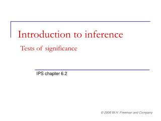 Introduction to inference Tests of significance