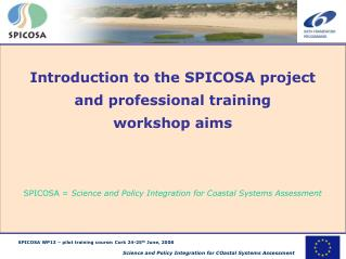 Introduction to the SPICOSA project and professional training  workshop aims SPICOSA =  Science and Policy Integration f