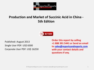 China Succinic Acid Market Production 5th Edition Report