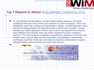 Top 5 Reasons to Attend PhoCusWright Conference 2020