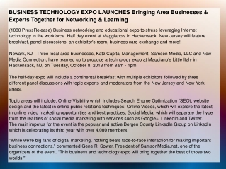 BUSINESS TECHNOLOGY EXPO LAUNCHES Bringing Area Businesses
