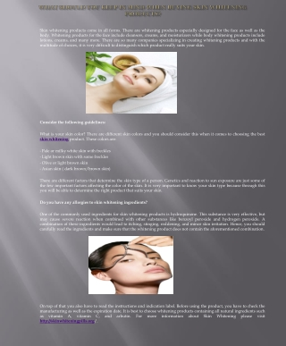 What Should You Keep In Mind When Buying Skin Whitening Prod