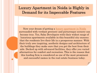 Luxury Apartment in Noida is Highly in Demand