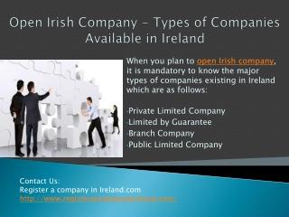 Open Irish Company - Types of Companies Available