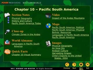 Chapter 10 – Pacific South America