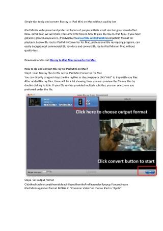 Simple tips to rip and convert Blu ray to iPad Mini on Mac
