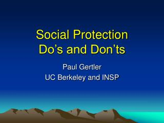 Social Protection  Do s and Don ts