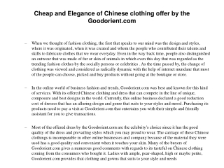 Cheap and Elegance of Chinese clothing offer by the Goodorie