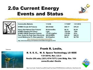 Frank R. Leslie, B. S. E. E.,  M. S. Space Technology, LS IEEE 1/21/2010, Rev. 2.0.3 fleslie @fit.edu; (321) 674-7377; L