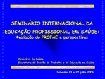SEMIN RIO INTERNACIONAL DA EDUCA  O PROFISSIONAL EM SA DE: