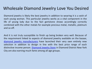 Wholesale Diamond Jewelry Love You Desired