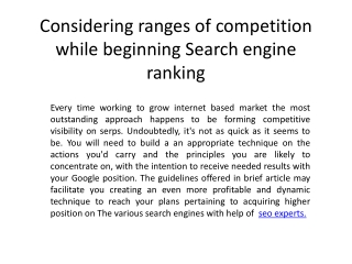 Considering ranges of competition while beginning Search eng