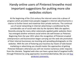 For handy online users of Pinterest