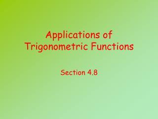 Applications of Trigonometric Functions