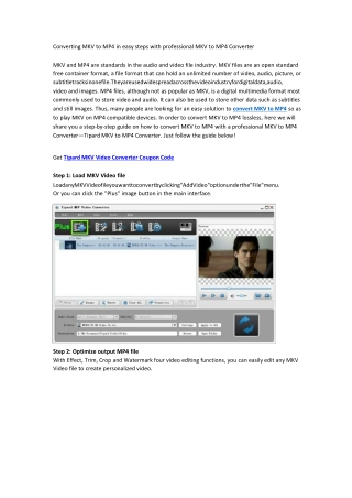 Converting MKV to MP4 in easy steps with professional MKV to