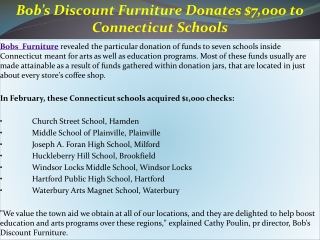 Bob's Discount Furniture Donates $7,000 to Connecticut Schoo