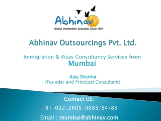 Immigration Visa Consultancy Services from Mumbai