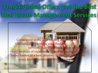 OmSaiGlobal Offers you the Best Real Estate Management Servi