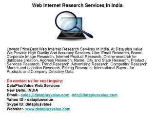 Web Internet Research Services in India