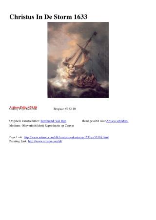 Christus In De Storm 1633 - Artisoo.com
