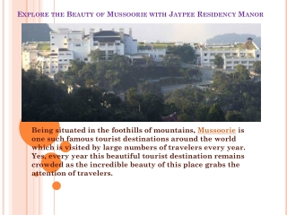 Explore the Beauty of Mussoorie with Jaypee Residency Manor