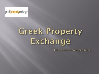 Property for rent and sale in Greece