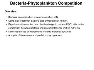 Bacteria-Phytoplankton Competition