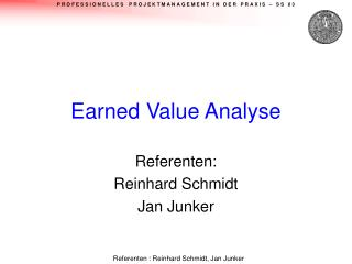 Earned Value Analyse