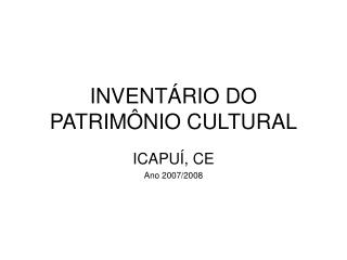 INVENT RIO DO PATRIM NIO CULTURAL