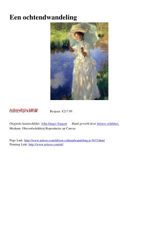 Een ochtendwandeling - Artisoo.com