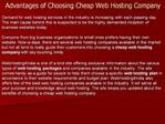 Advantages of Choosing Cheap Web Hosting Company