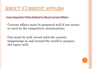 Prepration About Current affairs