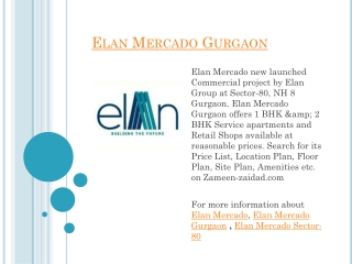 Elan Mercado Gurgaon