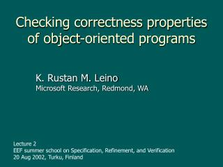 Checking correctness properties of object-oriented programs