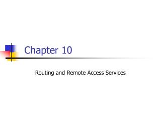 Routing and Remote Access Services