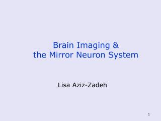 Brain Imaging &  the Mirror Neuron System