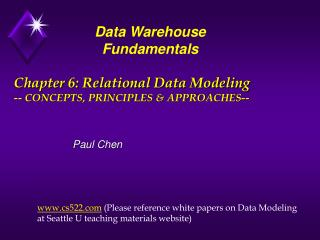 Chapter 6: Relational Data Modeling -- CONCEPTS, PRINCIPLES & APPROACHES--