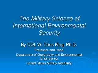 The Military Science of International Environmental Security
