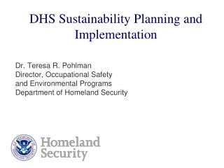 DHS Sustainability Planning and Implementation
