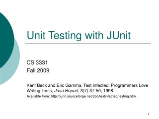 Unit Testing with JUnit