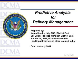Predictive Analysis  for  Delivery Management