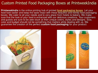 Custom Printed Food Packaging Boxes at PrintweekIndia