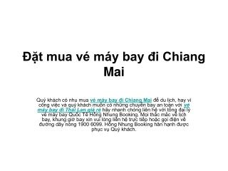 Đặt mua vé máy bay đi Chiang Mai