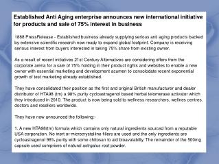 Established Anti Aging enterprise announces