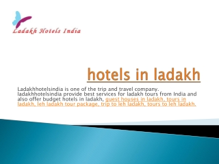 hotels in ladakh