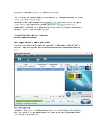 How to burn MKV to Blu ray with Leawo MKV to Blu ray Burner