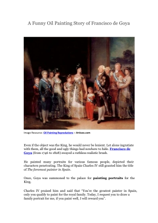 A Funny Oil Painting Story of Francisco de Goya