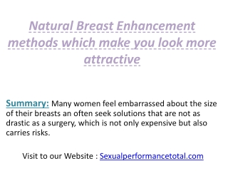 Natural Breast Enhancement methods which make you look more