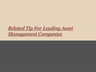 Related Tip For Leading Asset Management Companies